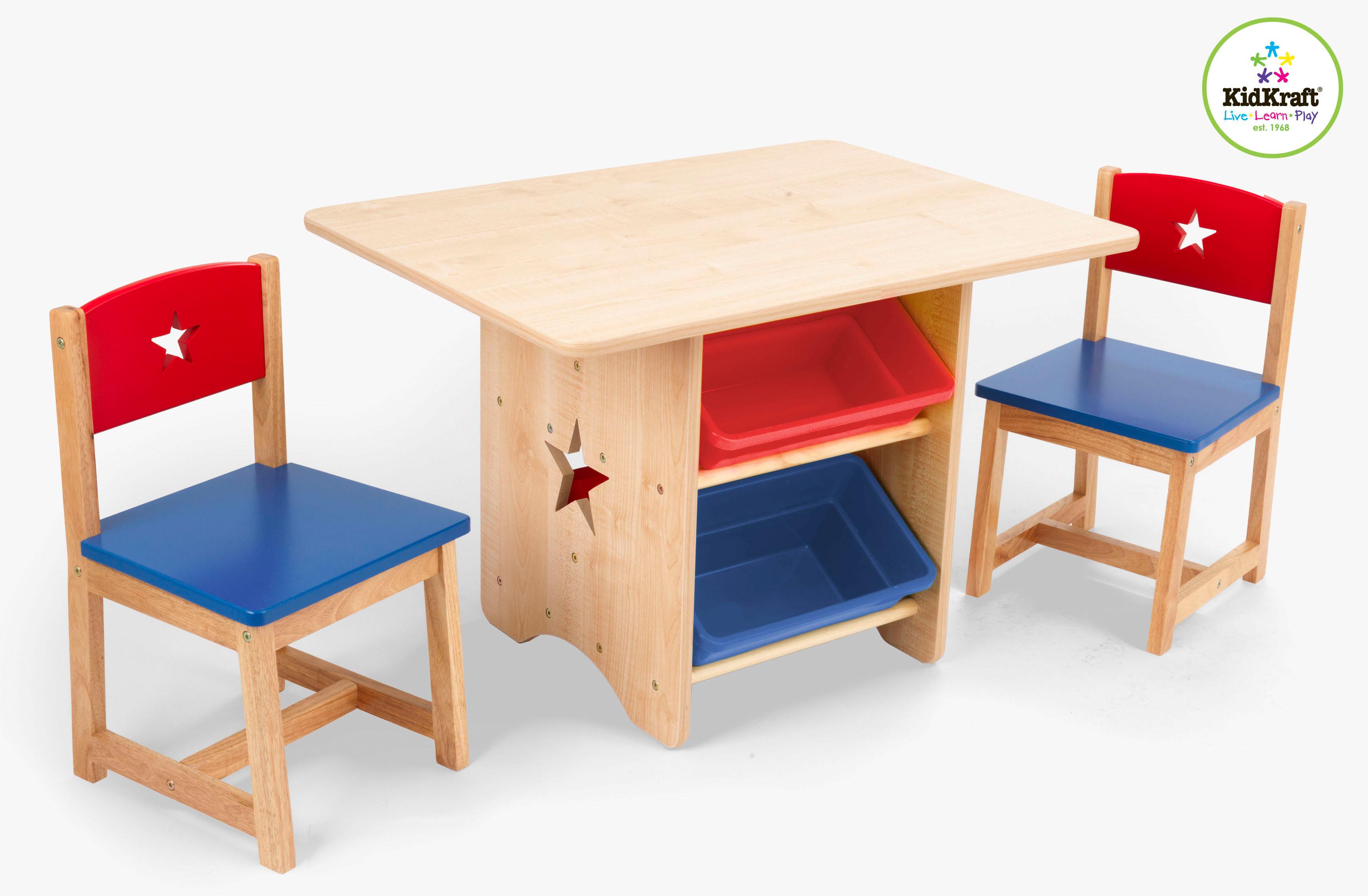 Kindertisch und 2 Stühle Sternchen rot-blau