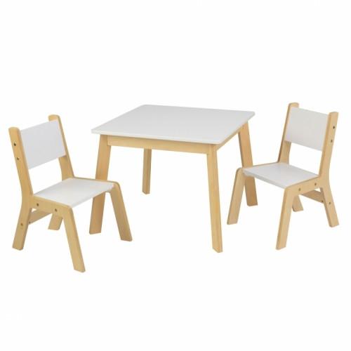 Moderner Kindertisch mit 2 Stühlen weiß-natur
